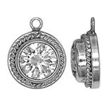 S661CZ: 8.9x11.1mm Fancy 6mm CZ Bezel Charm with 1mm Closed Ring ID, 3.9mm Overall Depth
