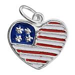 S707E: 13x11.5mm Enameled USA Patriotic Heart Charm, 4mm OD Oval Closed Jump Ring