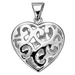 S810: Sterling Silver Filigree Vine Puffed Heart Pendant