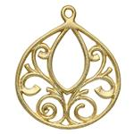SG5123: Gold-Plated Sterling Silver Scrollwork Design Drop