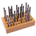 X140: 40 Hole Wood Metal Stamp Tool Organizer Block