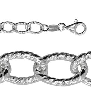 274TW7.5: Sterling Silver Heavy Twisted Oval Chain Bracelet