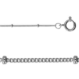 28449-10: Sterling Silver Saturn Chain Anklet