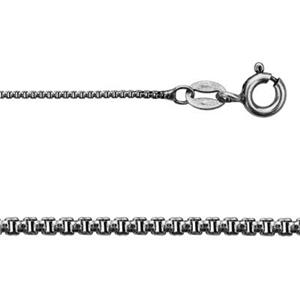 211X18: Sterling Silver Oxidized Round Box Chain Necklace