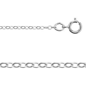 21218F16: Sterling Silver 1.5mm Flat Cable Chain Necklace