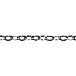 21218X: Sterling Silver Tiny Oxidized Textured Cable Chain