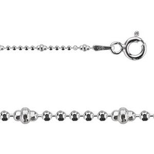 212224: 24in, 1.9mm Alternating Diamond Cut Bead Chain with Spring Ring