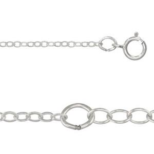 21318F16-18: 16-18in, 1.5mm Flat Cable Chain with Spring Ring and 2in, 2.3mm Cable Chain Extender