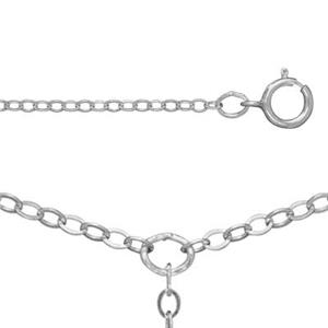 21318F16LT: Sterling Silver Flat Cable Lariat Necklace with Drop Chain