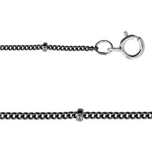 213416: Sterling Silver Oxidized Saturn Curb Chain Necklace