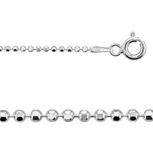 215016DC: Sterling Silver 1.5mm Diamond Cut Bead Chain Necklace
