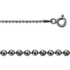 215018X: Sterling Silver 1.5mm Oxidized Bead Chain Necklace