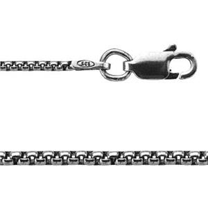 215X20: 20in, 1.5mm Oxidized Half Round Box Chain with Lobster Claw