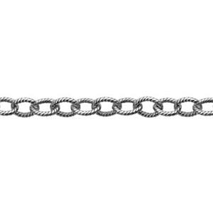 21617M: Sterling Silver Oxidized Textured Cable Chain