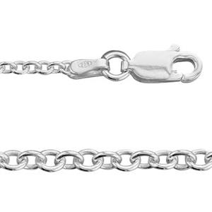 21750L16: Sterling Silver Heavy Cable Finished Chain with Lobster Claw