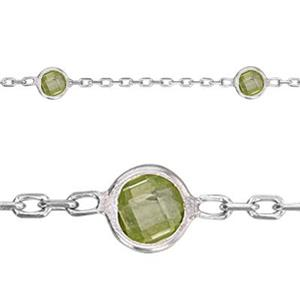 2215AUGCZ: 1.3mm Cable Chain, 4mm August Peridot CZ. Length between beads 1in.