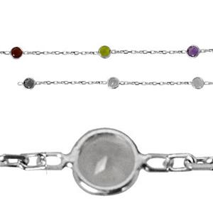2215GEM: Sterling Silver Gemstone Set Saturn Station Chain