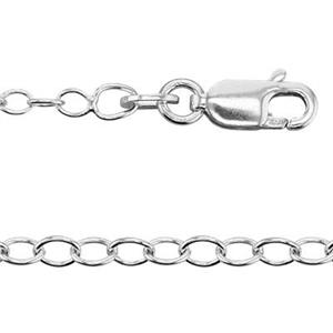 24018L: Sterling Silver 2.4mm Cable Chain Necklace