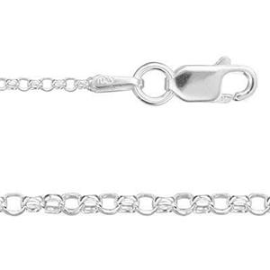 2422L16: Sterling Silver Diamond Cut Rolo Chain Necklace Lobster Clasp