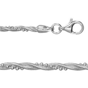2D1718: 18in, 1.9mm 3-strand Braided Bead and Snake Chain with Lobster Claw