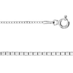 2DBX2220: 20in, .9mm Smooth Mirror Box Chain with Spring Ring