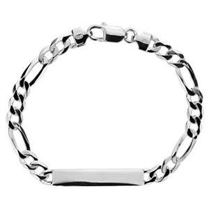 2FIG188: Sterling Silver Heavy Figaro Chain ID Bracelet