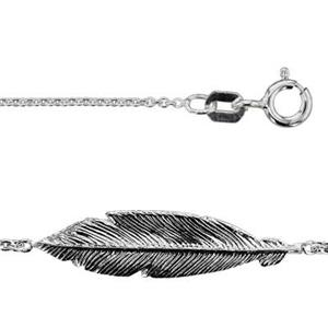 2K7318: 18in, 1.1mm Necklace with 21.8x5.2mm Sideways Feather Link, 24ga feather is located approx. 5in from
