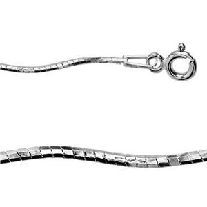 2KMG818: Sterling Silver Twirled Omega Necklace