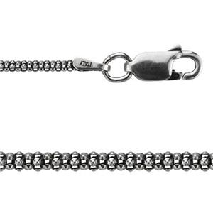 2RK18X20: Sterling Silver Oxidized Korean Style Chain Necklace