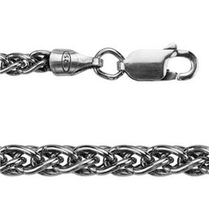 2RP8X7: Sterling Silver Oxidized Wheat Spiga Chain Bracelet