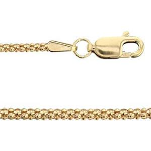 3RK16L20: 14/20 GF Popcorn Finished Neck Chain with Lobster Claw Clasp