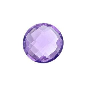 AS8AM: Double Sided Checkerboard Natural Amethyst Stone (No Hole), 4.3mm Depth