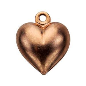 CB263: Copper Puff Heart Charm