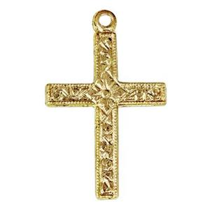 GF1673: 14/20 Gold-filled Patterned Cross Charm