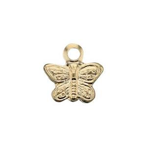 GF235: 14/20 GF 6.9x6.9mm Butterfly Charm, 1.2mm Ring ID