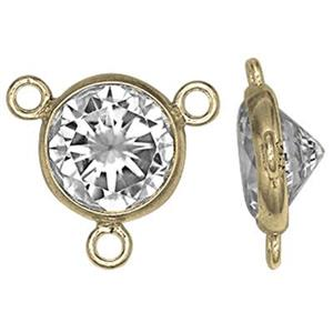 GF781CZ: 14/20 Gold-filled 9.6x8.7mm Y-Link with 6mm CZ, 1mm Closed Ring IDs