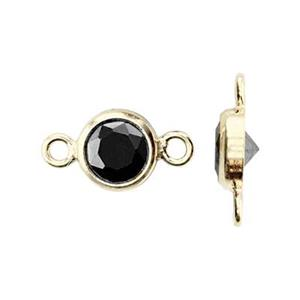 GF784BCZ: 14/20 Gold-filled 8.7x4.7mm Bezel Link, 4mm Black CZ, 1mm Closed IDs