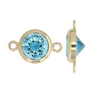 GF786AQCZ: 14/20 GF 10.8x6.7mm Bezel Link with 6mm Aqua CZ, 1mm Closed Ring IDs