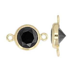 GF786BCZ: 14/20 GF 10.8x6.7mm Bezel Link, 6mm Black CZ, 1mm Closed Ring IDs