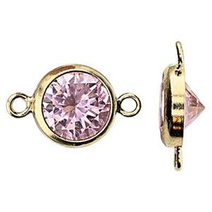 GF786PCZ: 14/20 GF 10.8x6.7mm Bezel Link, 6mm Pink CZ, 1mm Closed Ring IDs
