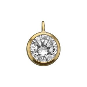 GF861CZ: 14/20 GF Bezel Charm, 6mm CZ, Closed Perpendicular Ring ID