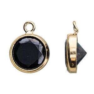 GF86BCZ: 14/20 GF 6.7x8.7mm Bezel Charm, 6mm Black CZ, 1mm Closed Ring ID