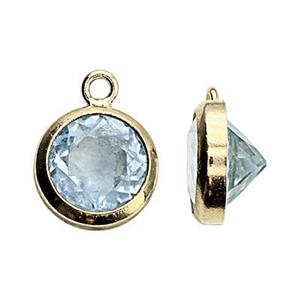 GF86BT: 14/20 GF 6.7x8.7mm Bezel Charm, 6mm Blue Topaz, 1mm Closed Ring ID