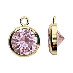 GF86PCZ: 14/20 Gold-filled 6.7x8.7mm Bezel Charm, 6mm Pink CZ, 1mm Closed Ring ID
