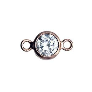 GFR784CZ: Rose Gold-Filled 4mm CZ Bezel Link