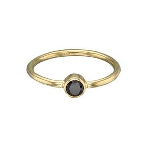 GR547BCZ: 14/20 GF Stacking Finger Ring, 4mm Black CZ