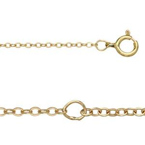 KT102516-18: 14Kt Gold 16-18in, 1.2mm Adjustable Cable Chain with Spring Ring