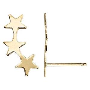KT164R: 14Kt Gold Star Climber Post Earring