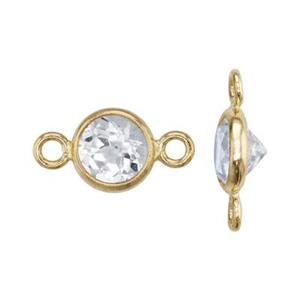 KT402TZ: 14kt Gold Bezel Link with White Topaz
