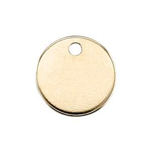 KTB3T1: 14Kt Gold 9mm 20ga Circle Blank, 1.1mm Hole ID